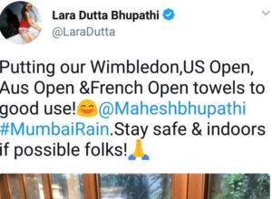 लारा दत्ता-भूपती ने आपल्या पतीचे ग्रँडस्लॅम मध्ये कमावलेले टॉवेल वापरले पाऊस अडवायला…
